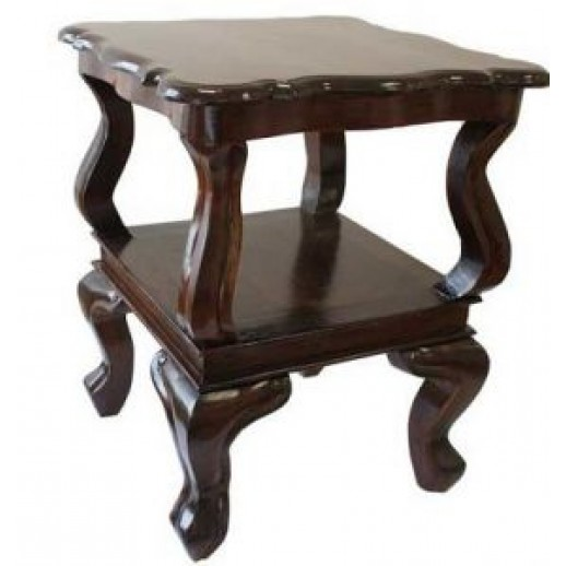 Стол кофейный с полкой IMG-5933 (тик коричневый) ЭТНО