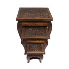 Комплект столиков с резной столешницей арт.21-9-1200 (коричневый)ЭТНО