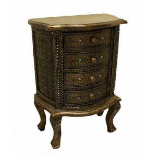 Cтолик из дерева консольный с 4мя ящиками арт.1-2-200 (бронза с синей инкрустацией) ЭТНО