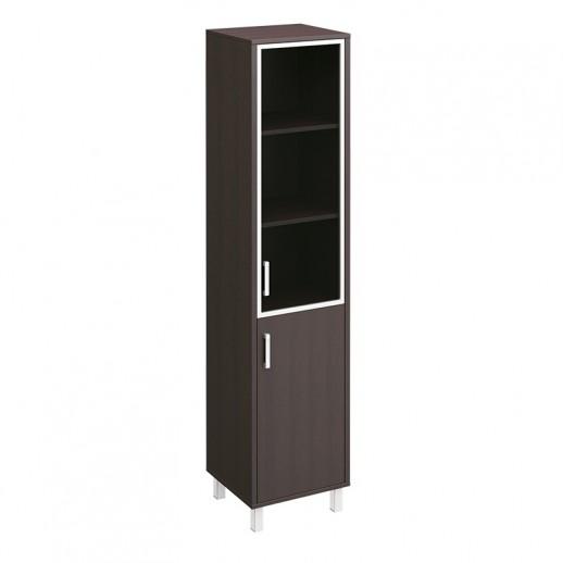 Шкаф для документов правый, двери стеклянная в алюминиевой раме + ДСП без замка венге
