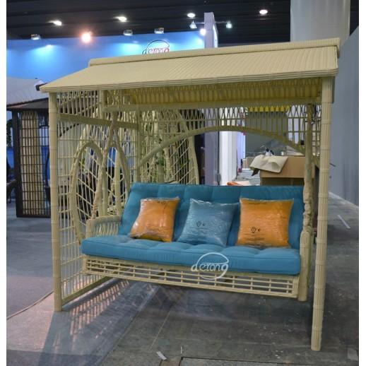 Качели-диван из ротанга коричневые, бежевые