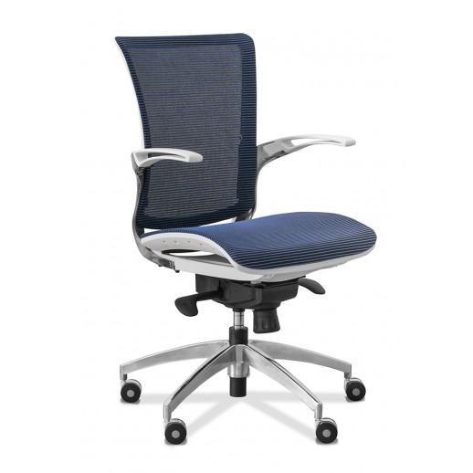 Кресло для персонала C80 (каркас белый) сетка / синяя