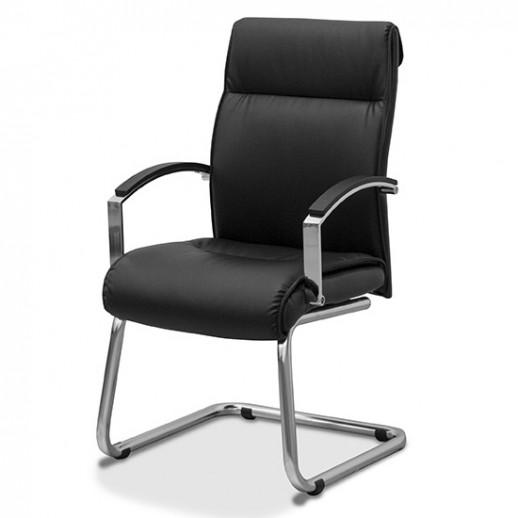 Кресло посетителя Аполло экокожа / черная