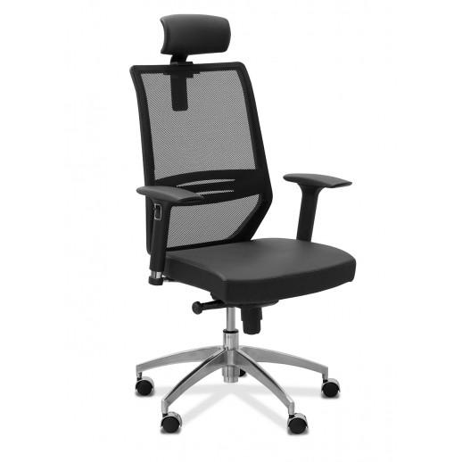 Кресло руководителя Aero lux с подголовником сетка/ткань TW / черная/черная
