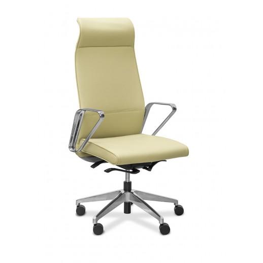 Кресло руководителя Shark Slim натуральная кожа с компаньоном / бежевая