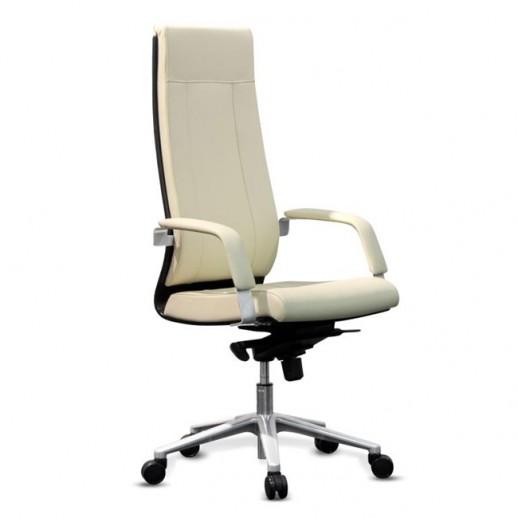 Кресло Торино New W натуральная кожа / зеленая/ дерево беленый дуб