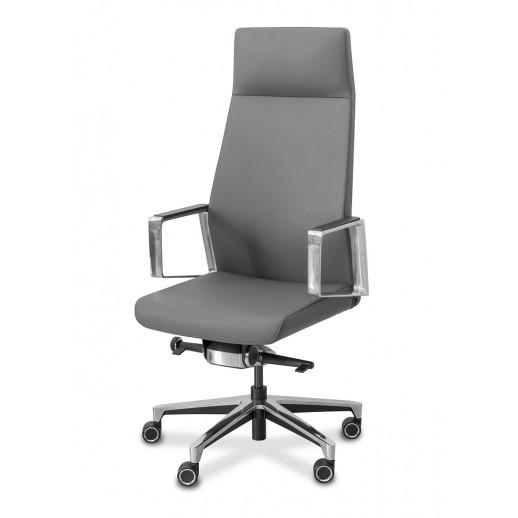 Кресло руководителя Titan натуральная кожа / серая