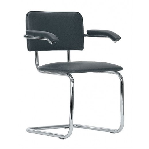 Кресло для посетителей Sylwia Arm искусственная кожа / черная