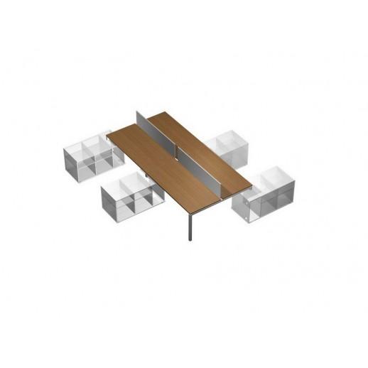 Рабочая станция (4х160) с настольными экранами ДСП (белый премиум) на 4-х опорных тумбах левых (БЕЗ ТУМБ) орех ногаро/белый премиум
