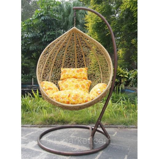 Подвесное кресло из ротанга Бежевый