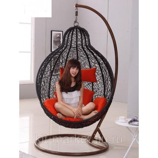 Кресло подвесное из ротанга Bolla Nero