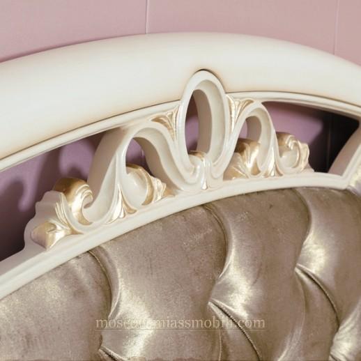 Флориана беж - Кровать с драпированной головной и без ножной спинки