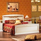 Луиджи белая -Двуспальная кровать с кованным элементом и гнутыми спинками