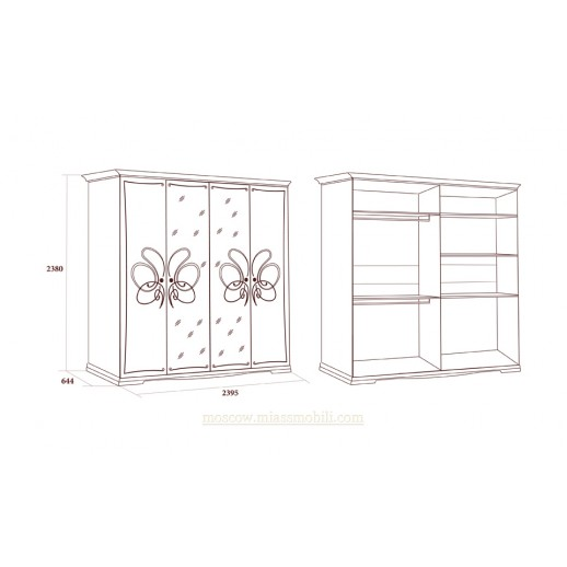 Виола белая Шкаф четырехдверный