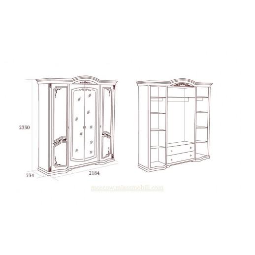 Флориана беж Шкаф четырехдверный с зеркалами