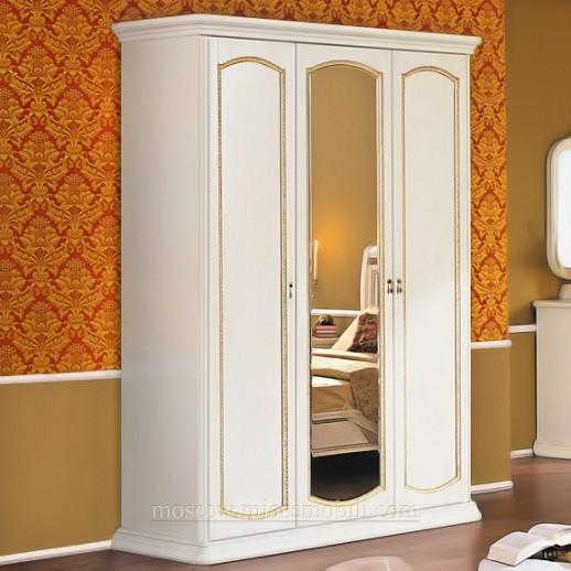 Луиджи белая Шкаф трехдверный с зеркалом