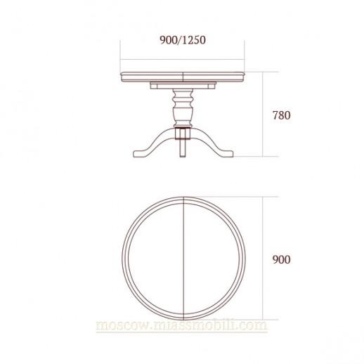 Стол обеденный с круглой крышкой