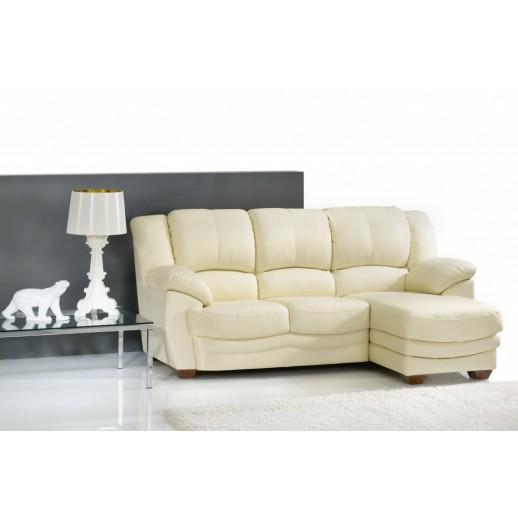 Кожаный диван Шератон угловой с оттоманкой
