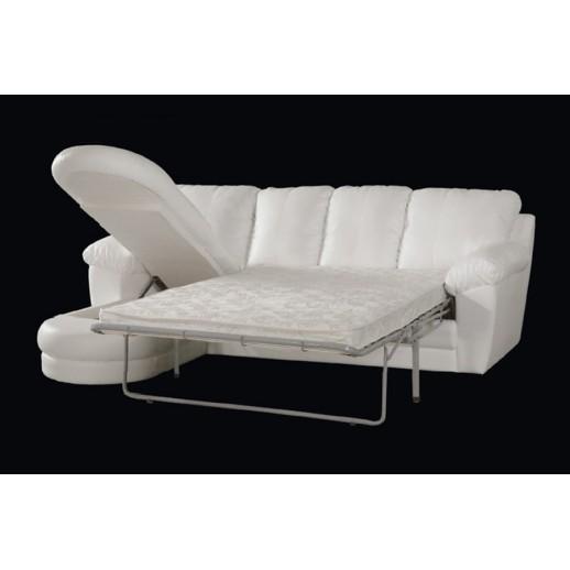 Кожаный диван Сириус угловой с оттоманкой
