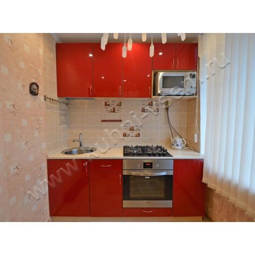Прямая кухня АЛВИК ЛЮКС с фасадами МДФ-ЛАК со встроенной СВЧ печью