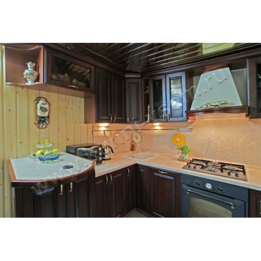 """Угловая кухня из массива дуба, тонированного под """"Вишню"""""""