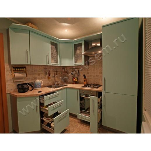 Угловая крашеная кухня из МДФ-ЭМАЛЬ, цвет салатовый, матовый