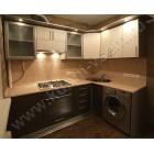 Угловая модельная кухня «Кареглазка» со встроенной стиральной машиной