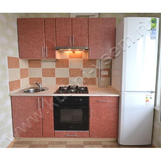 Небольшая кухня из пластика цвета «Гранат средиземноморский»