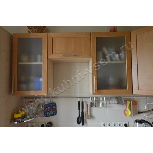 Угловая кухня из рамочного МДФ со шкафом-колонкой и посудомоечной машиной. Цвет «ОЛЬХА»