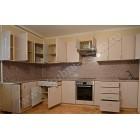 Большая угловая кухня из пластика с двумя углами, цвет «Олеандр розовый»