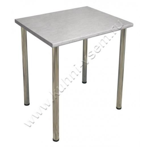 """Обеденный стол 750 мм из пластика цвета """"Серый Мрамор"""" на металлических ногах"""