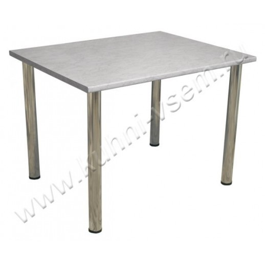 """Обеденный стол 1000 мм из пластика цвета """"Серый Мрамор"""" на металлических ногах"""