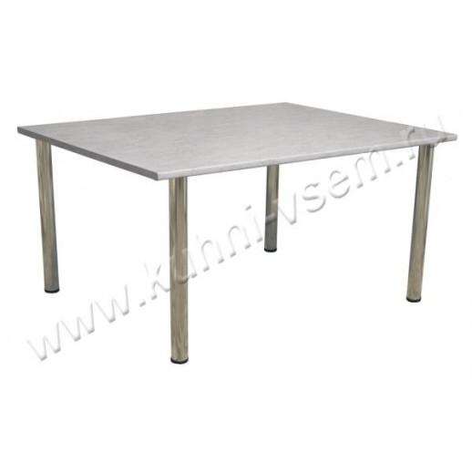 """Обеденный стол 1500 мм из пластика цвета """"Серый Мрамор"""" на металлических ногах"""