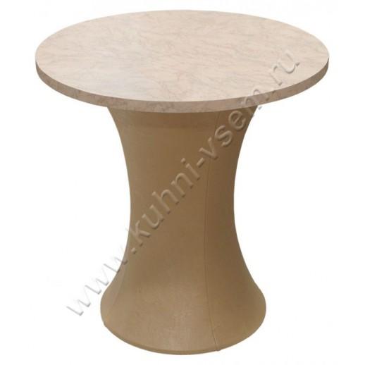 """Обеденный стол """"Грибок"""" круглый, цвета """"Розовый мрамор"""" на подстолье с бежевой мягкой обивкой"""