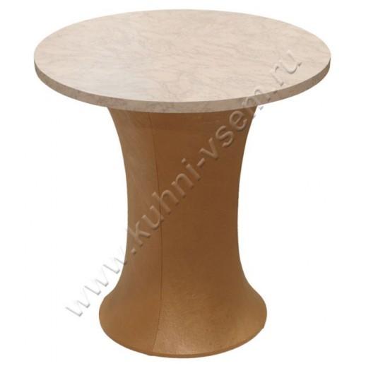 """Обеденный стол """"Грибок"""" круглый, цвета """"Розовый мрамор"""" на подстолье с мягкой обивкой под цвет бронзы."""