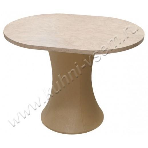 """Обеденный стол """"Грибок"""" овальный, цвета """"Розовый мрамор"""" на подстолье с бежевой мягкой обивкой"""