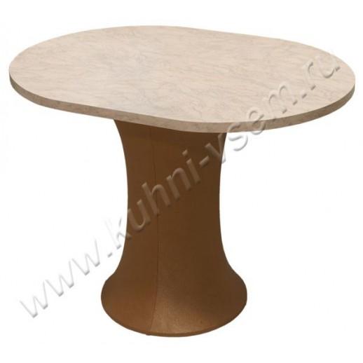 """Обеденный стол """"Грибок"""" овальный, цвета """"Розовый мрамор"""" на подстолье с мягкой обивкой под цвет бронзы"""