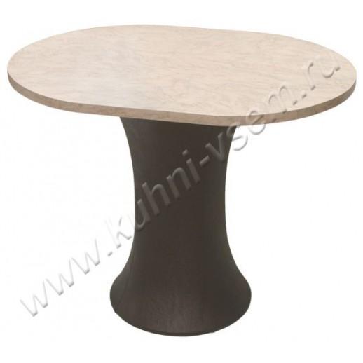 """Обеденный стол """"Грибок"""" овальный, цвета """"Розовый мрамор"""" на подстолье с мягкой обивкой под цвет """"Венге"""""""