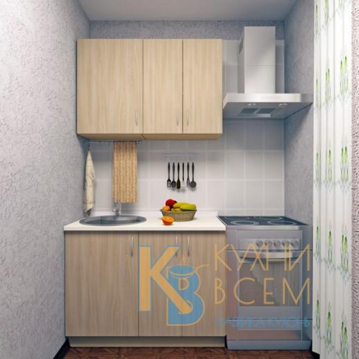 Готовый комплект кухни 1,1 пог. метра, ЛДСП, цвет Ясень Шимо светлый
