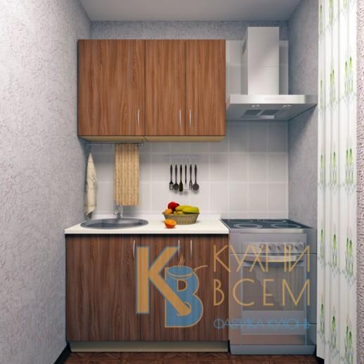 Готовый комплект кухни 1,1 пог. метра, ЛДСП, цвет Ясень Шимо темный