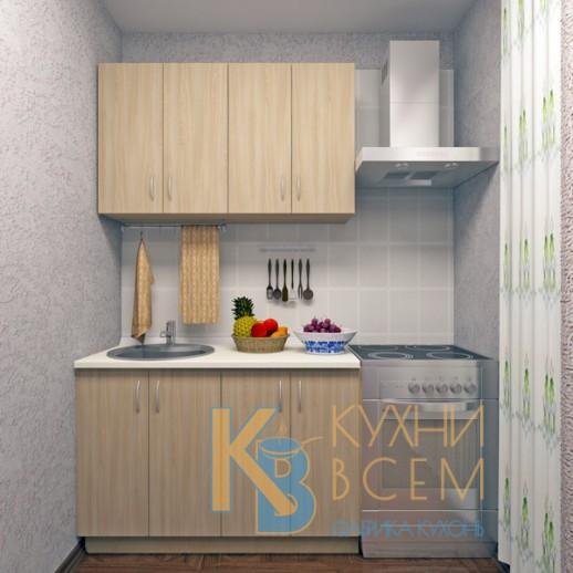 Готовый комплект кухни 1,2 пог. метра, ЛДСП, цвет Ясень Шимо светлый
