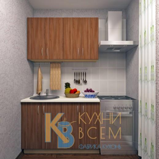 Готовый комплект кухни 1,2 пог. метра, ЛДСП, цвет Ясень Шимо темный
