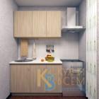Готовый комплект кухни 1,3 пог. метра, ЛДСП, цвет Ясень Шимо светлый
