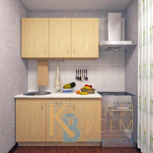 Готовый комплект кухни 1,4 пог. метра, ЛДСП, цвет Клен