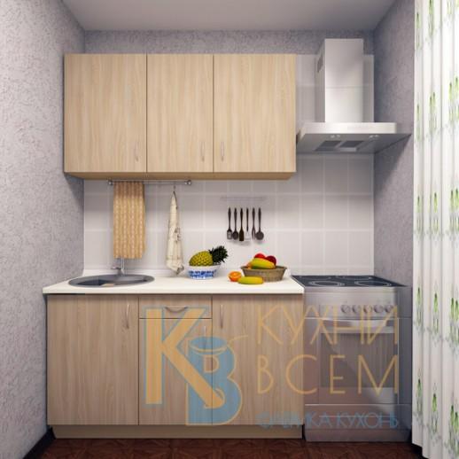 Готовый комплект кухни 1,4 пог. метра, ЛДСП, цвет Ясень Шимо светлый