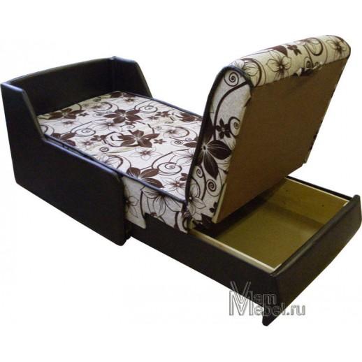 Кресло кровать флок на рогожке со склада коричневое