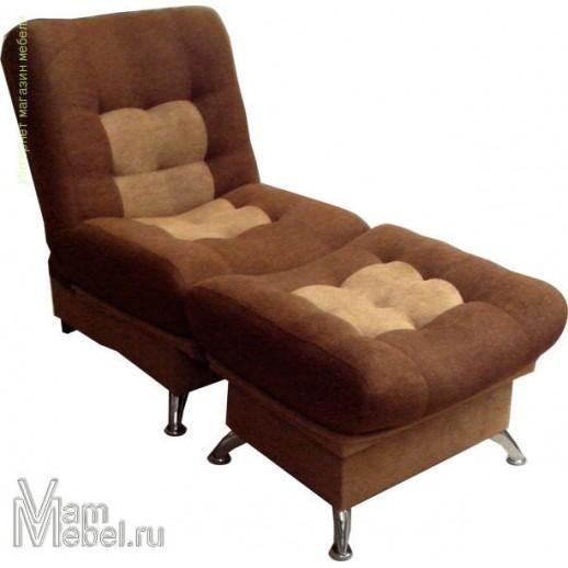 Кресло кровать Лиза с пуфом молочный АстраВелюр
