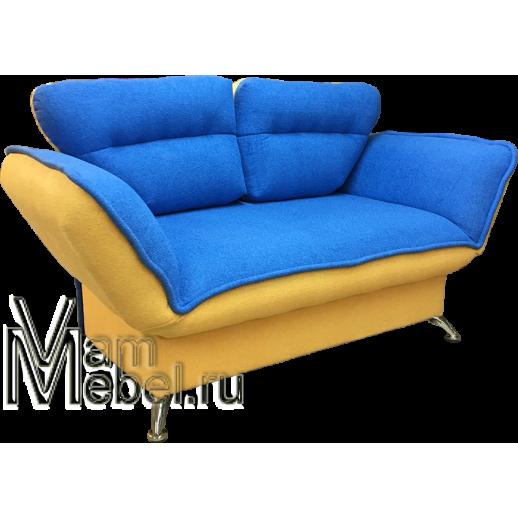 Кушетка клик кляк Астра велюр голубая с желтым