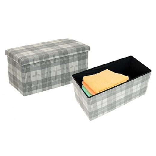 Пуф-короб из картона и текстиля арт.85