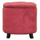 Пуф-контейнер из дерева и текстиля круглый (розовый)